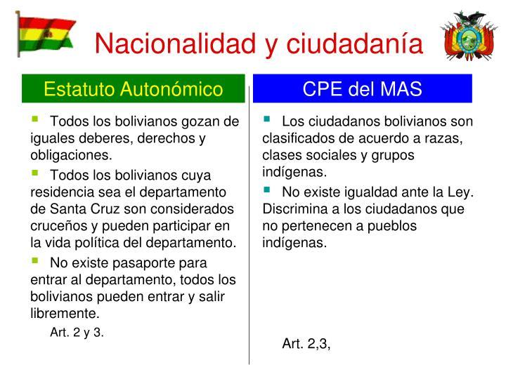 Todos los bolivianos gozan de iguales deberes, derechos y obligaciones.