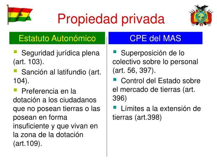 Seguridad jurídica plena (art. 103).
