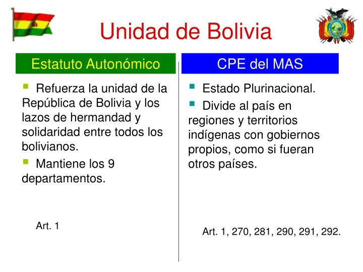 Refuerza la unidad de la República de Bolivia y los lazos de hermandad y solidaridad entre todos los bolivianos.