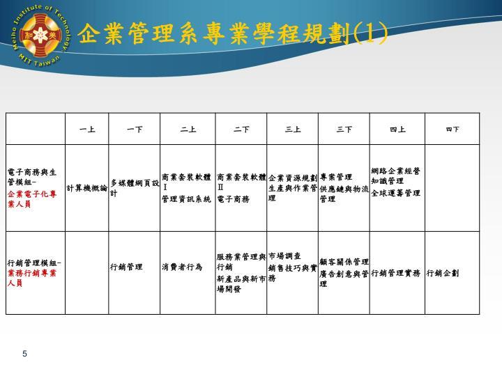 企業管理系專業學程規劃