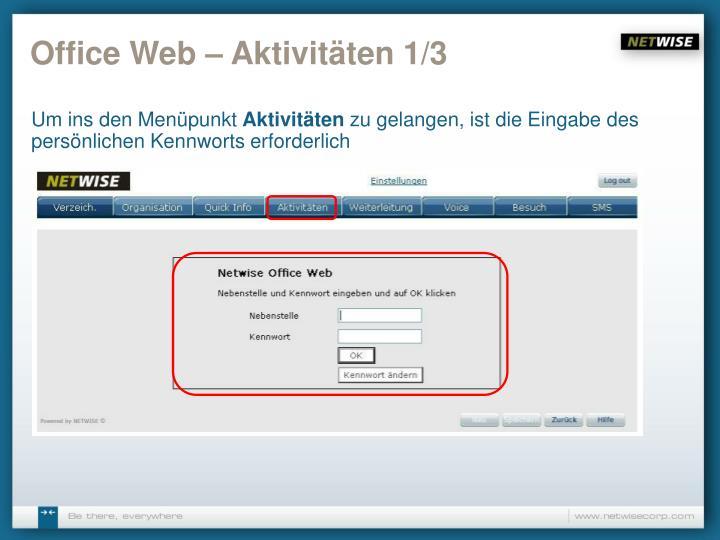 Office Web – Aktivitäten 1/3