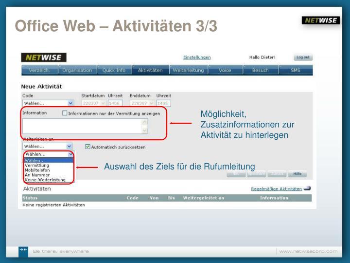 Office Web – Aktivitäten 3/3