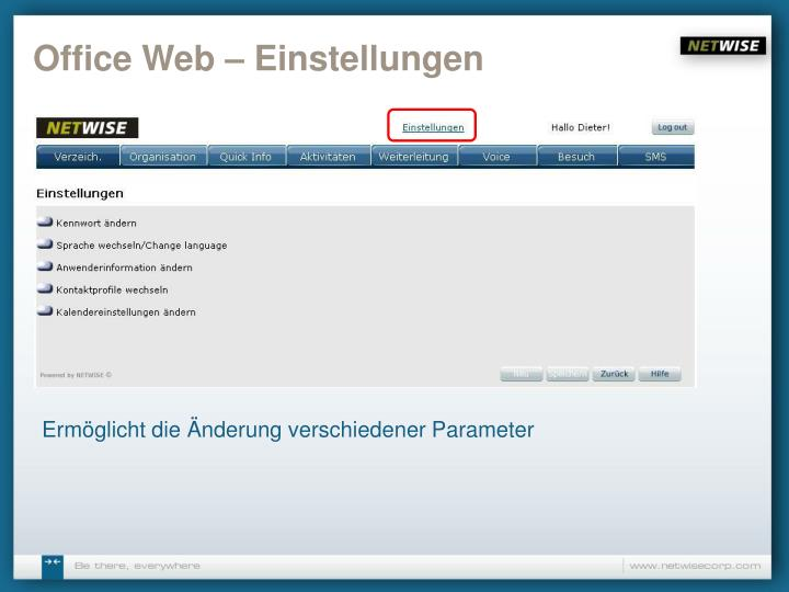 Office Web – Einstellungen