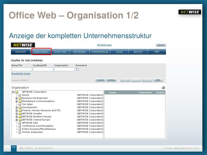 Office Web – Organisation 1/2