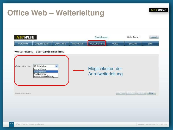 Office Web – Weiterleitung