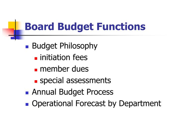 Board Budget Functions