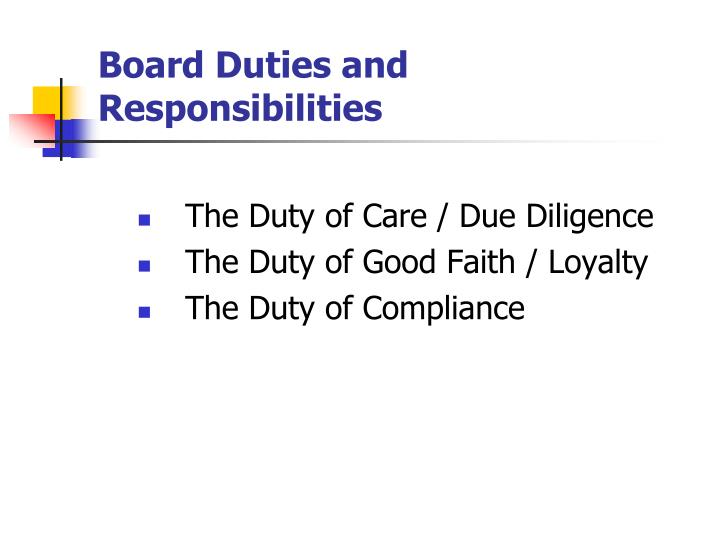 Board Duties and Responsibilities