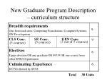 new graduate program description curriculum structure