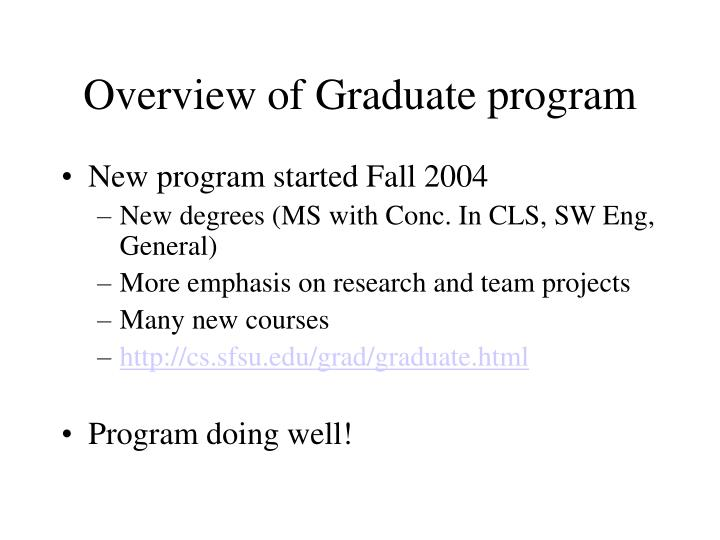 Overview of graduate program