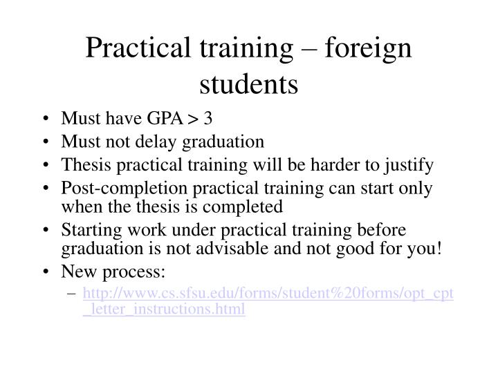 Practical training – foreign students