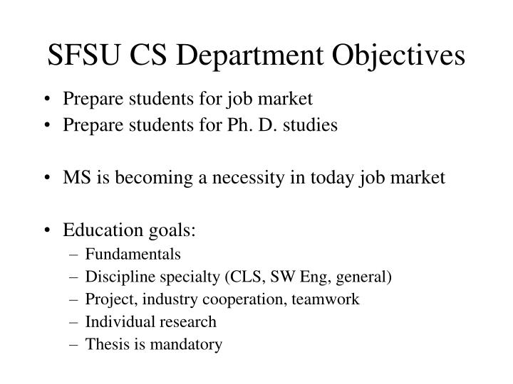 Sfsu cs department objectives