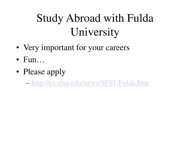 Study Abroad with Fulda University