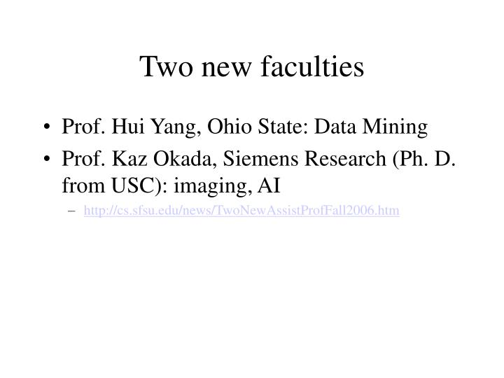 Two new faculties
