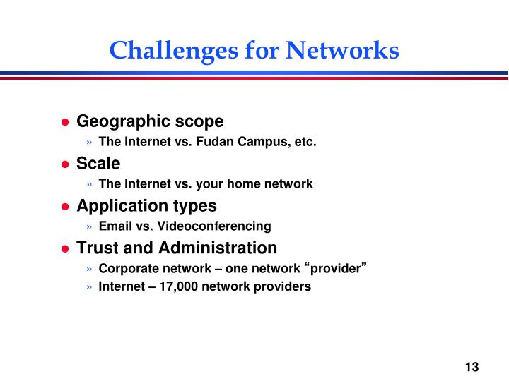 Challenges for Networks