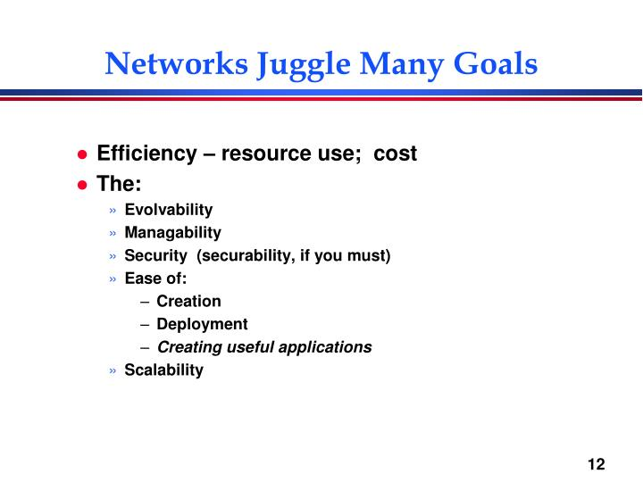 Networks Juggle Many Goals