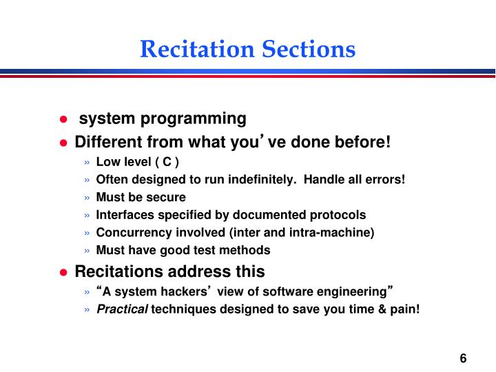 Recitation Sections