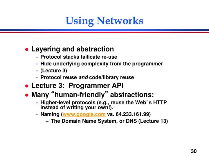 Using Networks