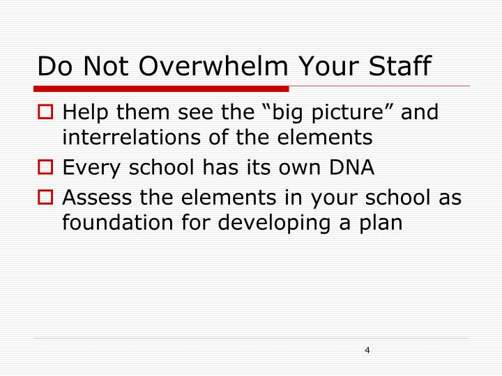 Do Not Overwhelm Your Staff