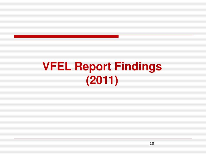 VFEL Report Findings