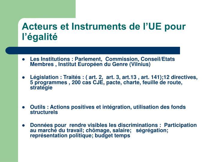 Acteurs et Instruments de l'UE pour l'égalité