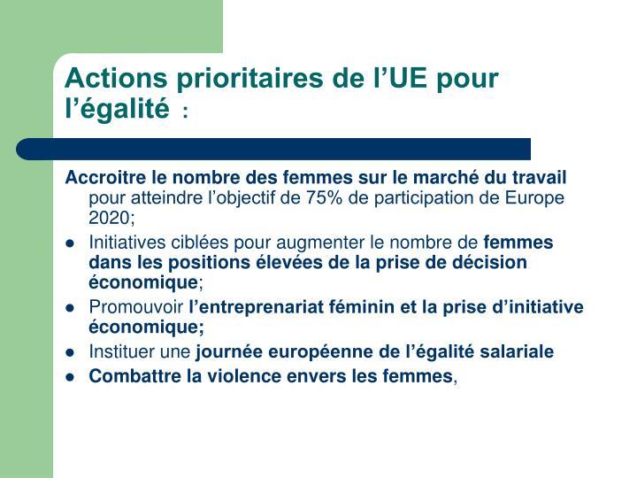 Actions prioritaires de l'UE pour l'égalité