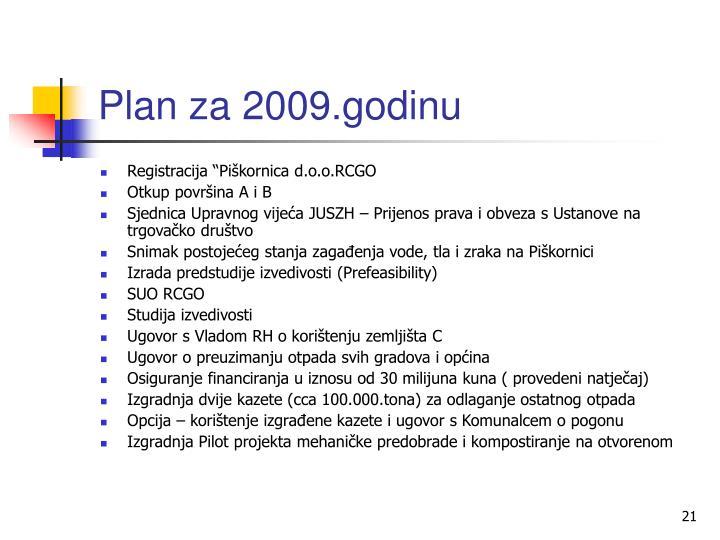 Plan za 2009.godinu