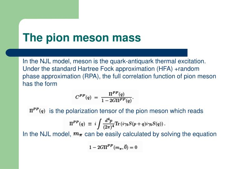 The pion meson mass