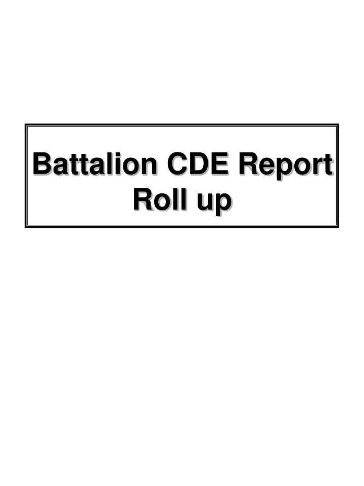 Battalion CDE Report