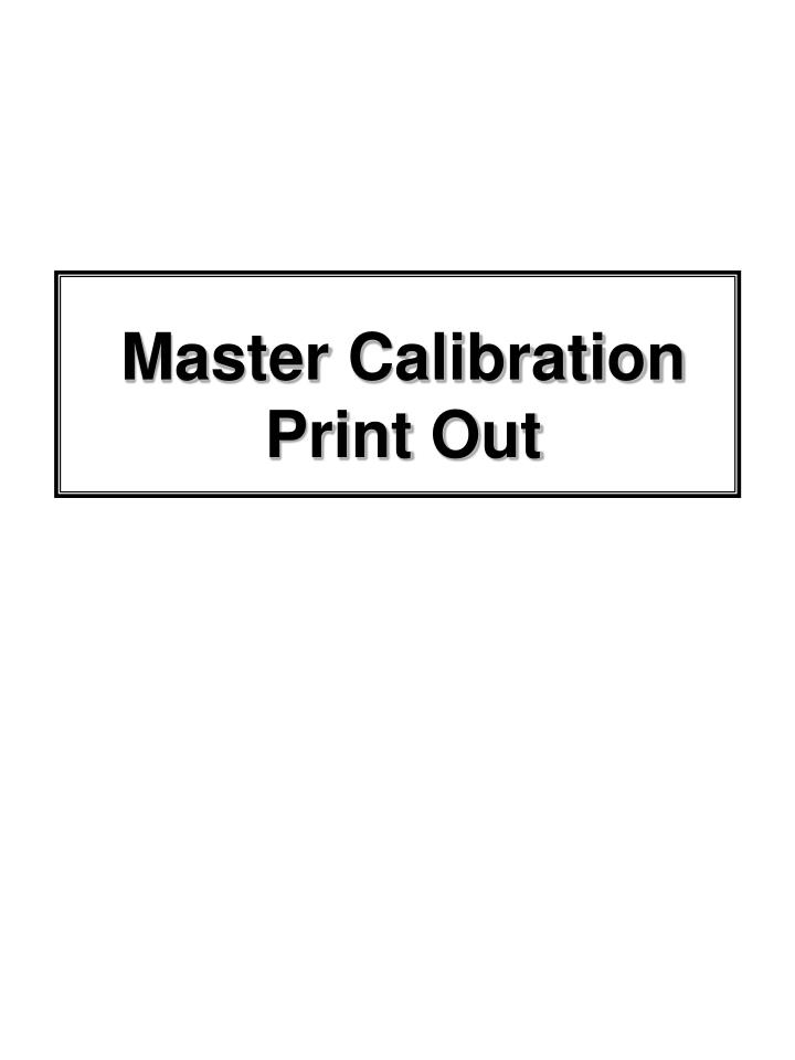 Master Calibration