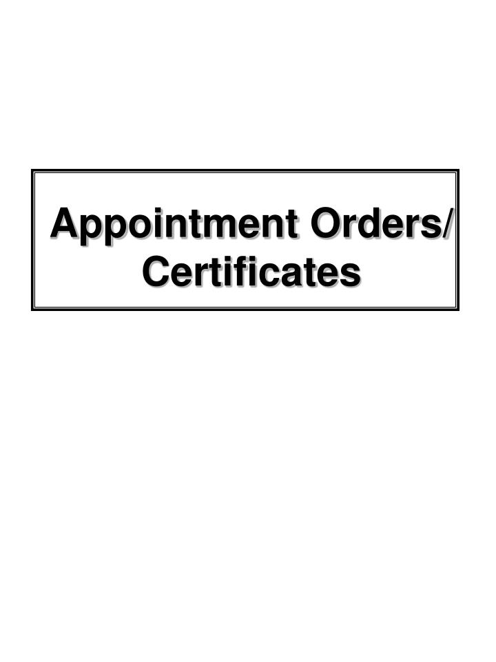 Appointment Orders/