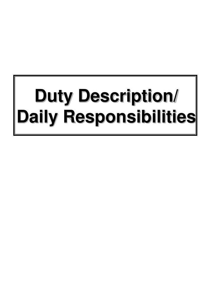 Duty Description/