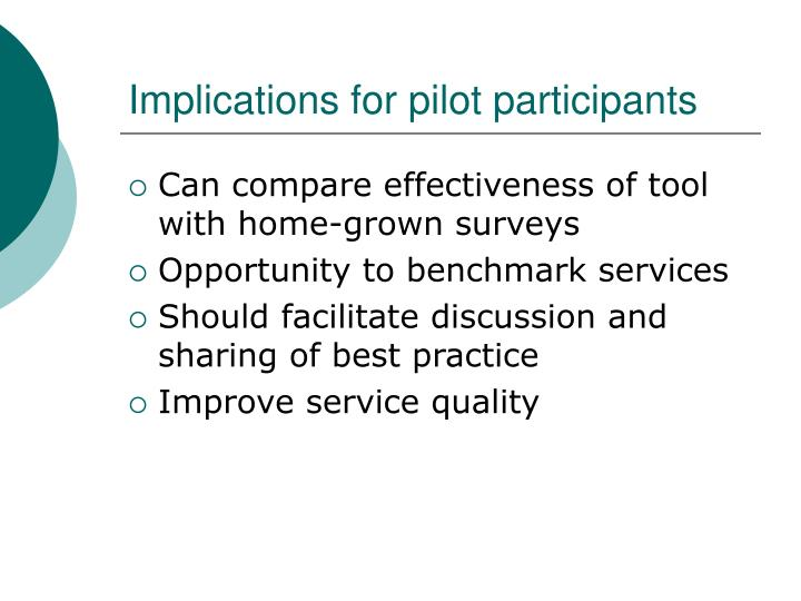 Implications for pilot participants
