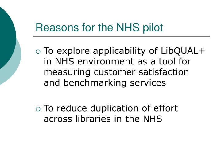 Reasons for the NHS pilot