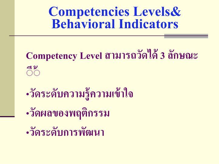 Competencies Levels& Behavioral Indicators
