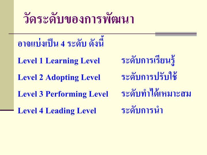 วัดระดับของการพัฒนา