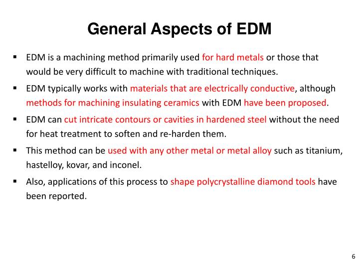 General Aspects of EDM