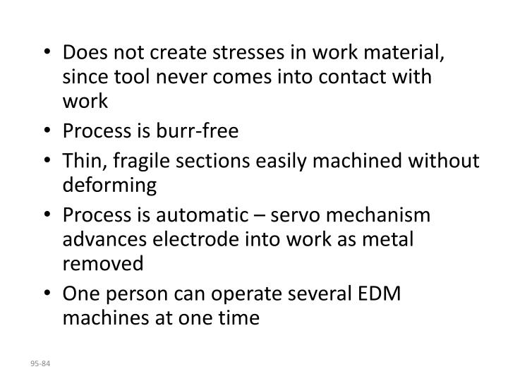 Does not create stresses in work material, since tool never comes into contact with work
