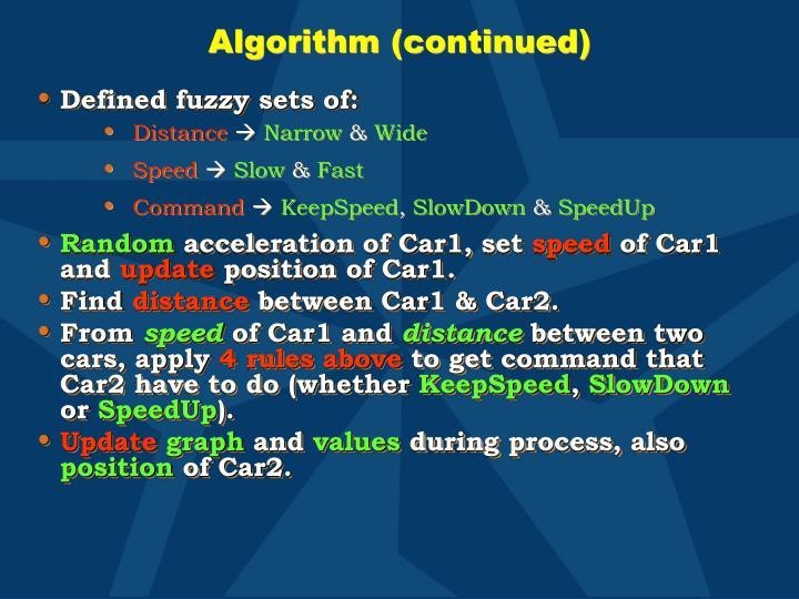 Algorithm (continued)