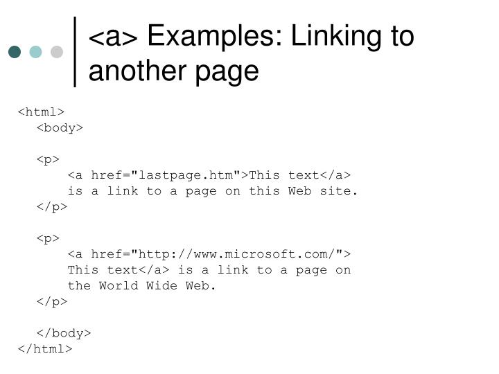 <a> Examples: Linking to another page
