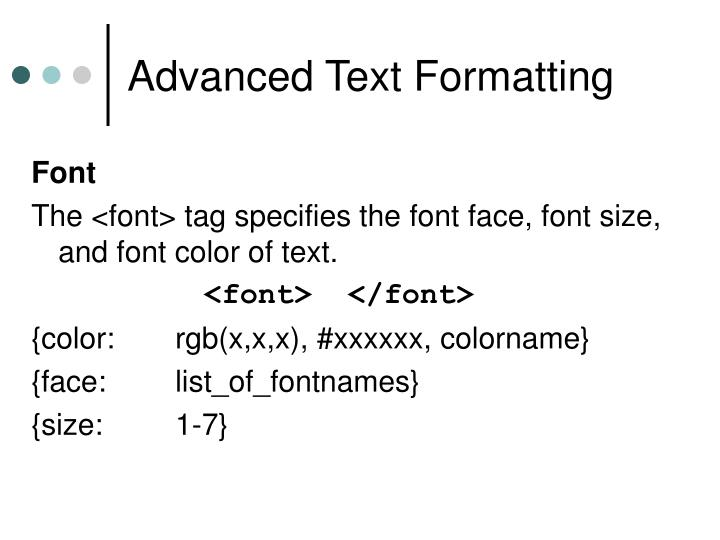 Advanced Text Formatting