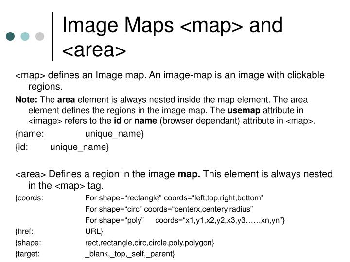 Image Maps <map> and <area>