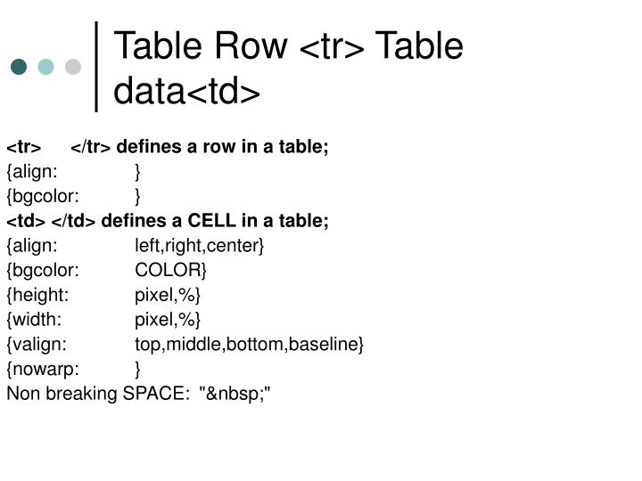 Table Row <tr> Table data<td>
