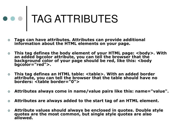 TAG ATTRIBUTES