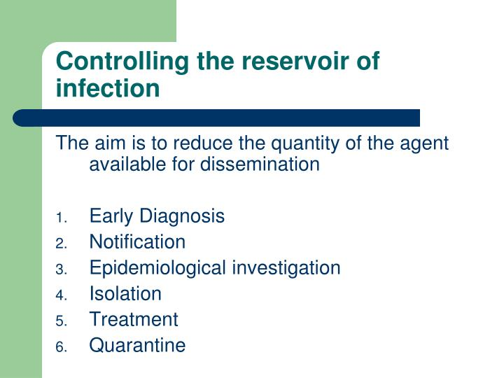 Controlling the reservoir of infection