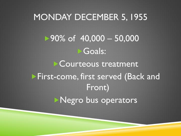 Monday December 5, 1955