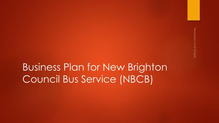 Business plan for new brighton council bus service nbcb