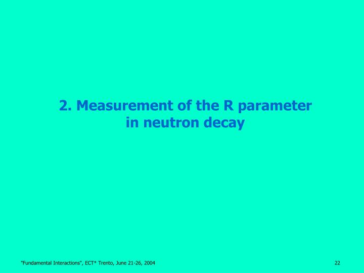 2. Measurement of the R parameter