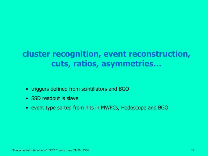 cluster recognition, event reconstruction,
