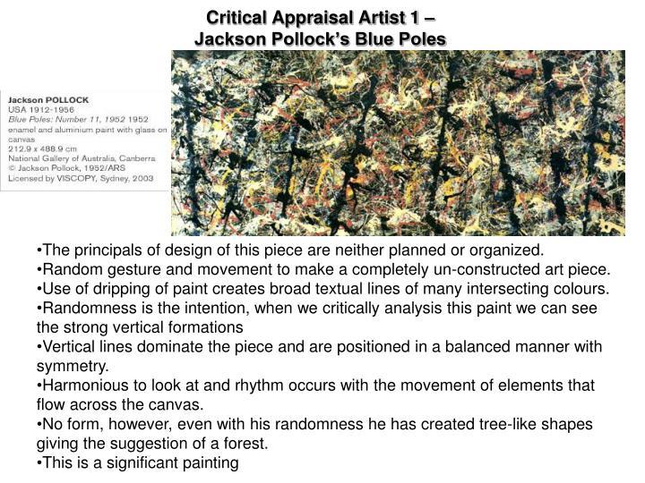 Critical Appraisal Artist 1 –