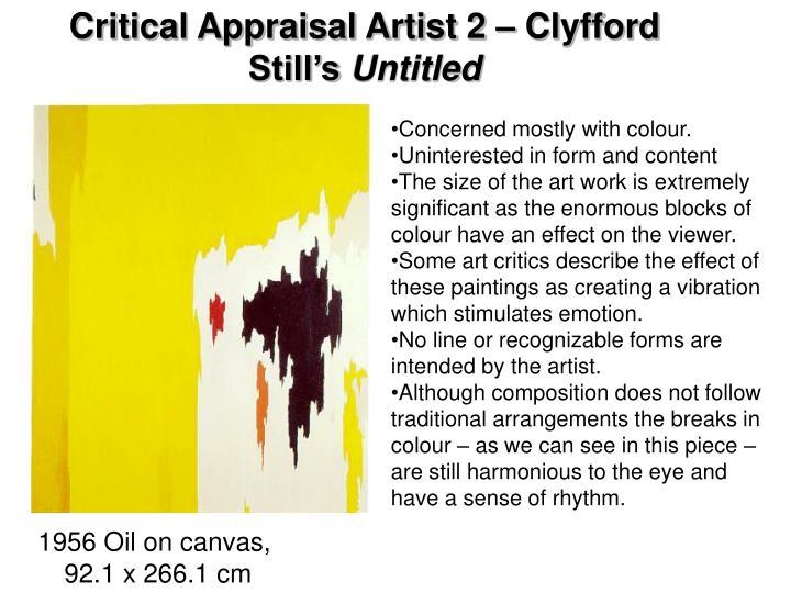Critical Appraisal Artist 2 – Clyfford Still's